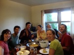Apprentices sharing a meal at Bantry Bay Farm in St. Andrews, NB