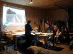 Michael Carr discussing the history of Jemseg River Farm to a group of new and aspiring farmers in August 2011.
