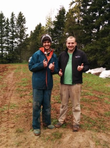 Mitchell Gallant, left, with Matt Dykerman, his host/mentor farmer at Red Soil Organics in Brookfield, PE.